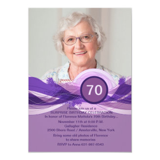 "Birthday Milestone Plum Photo Invitation 5"" X 7"" Invitation Card"