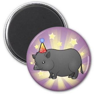 Birthday Miniature Pig 2 Inch Round Magnet