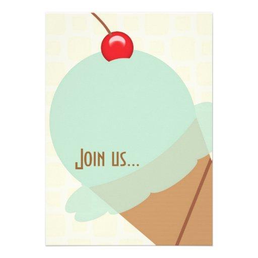 Birthday mint ice cream party invitation