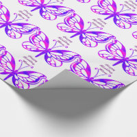 Birthday, mom, butterflies in purple. wrapping paper