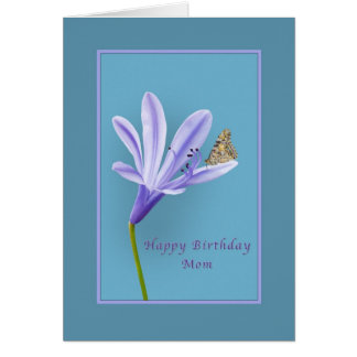 Birthday, Mom, Daylily Flower and Butterfly Greeting Card