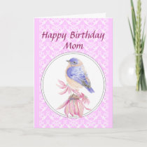 Birthday Mom, Lace, Bluebird Flower Garden Card