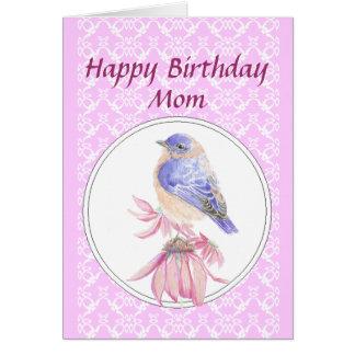 Birthday Mom, Lace, Bluebird Flower Garden Greeting Card