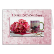 Birthday - MOM - Pink Roses/Book/Mug Card