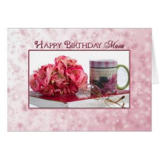 Birthday - MOM - Pink Roses/Book/Mug Card