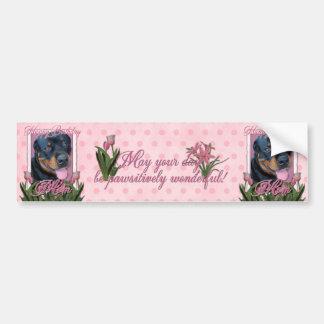 Birthday MOM - Pink Tulips - Rottweiler - Harley Bumper Stickers