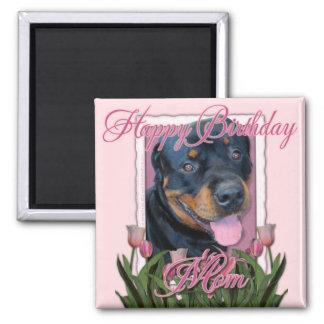 Birthday MOM - Pink Tulips - Rottweiler - Harley Magnet