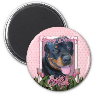 Birthday MOM - Pink Tulips - Rottweiler - Harley Magnets