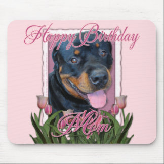 Birthday MOM - Pink Tulips - Rottweiler - Harley Mouse Pad