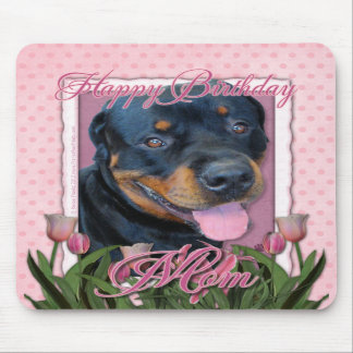 Birthday MOM - Pink Tulips - Rottweiler - Harley Mousepads