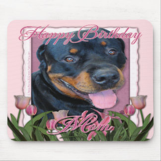 Birthday MOM - Pink Tulips - Rottweiler - Harley Mouse Pads