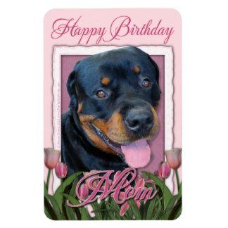 Birthday MOM - Pink Tulips - Rottweiler - Harley Flexible Magnets