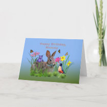 Birthday, Mommy, Bunny, Butterflies, Robin Card