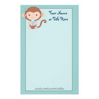 Birthday Monkey Blue Stationary Stationery
