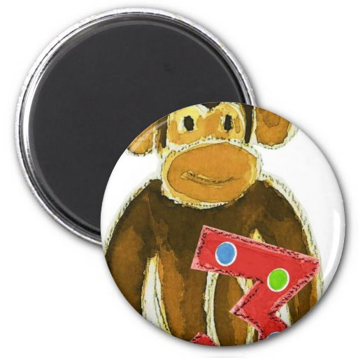 Birthday Monkey Holding Three 2 Inch Round Magnet
