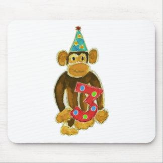 Birthday Monkey Holding Three Mouse Pad