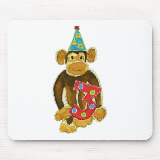 Birthday Monkey Holding Three Mousepad