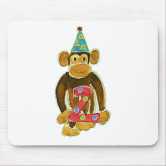Birthday Monkey Holding Two Mouse Pad