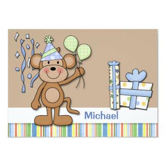 "Birthday Monkey Thank You Card 4.5"" X 6.25"" Invitation Card"