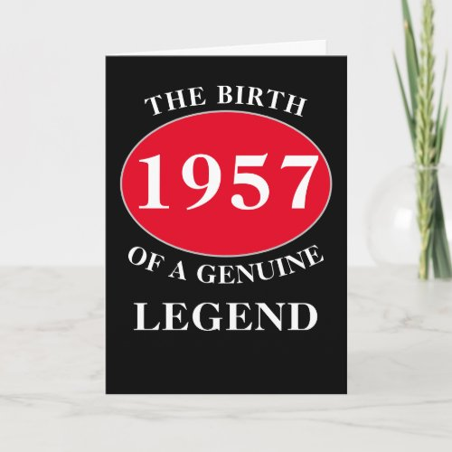 Birthday Monogram Add Year And Name Black Red Card