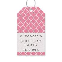 Birthday - Moroccan Trellis - Pink White Gift Tags