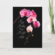 BIRTHDAY - MOTHER - FUCHSIA ORCHIDS CARD