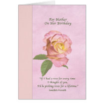 Birthday, Mother, Peace Rose Flower Card