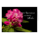 BIRTHDAY - MOTHER - RODODENDRONS - ON BLACK CARDS