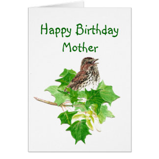 Birthday Mother Watercolor Song Sparrow Nature Greeting Card