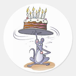 Birthday Mouse Round Sticker