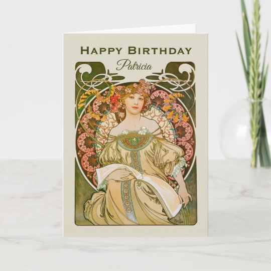 Birthday Mucha Reverie Daydream Art Nouveau Cc0989 Card Zazzle