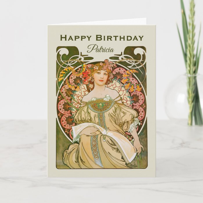 Birthday Mucha Reverie Daydream Art Nouveau CC0989 Card