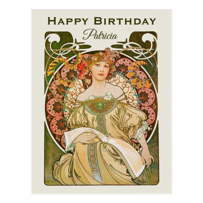 Birthday Mucha Reverie Daydream Art Nouveau CC1031 Postcard