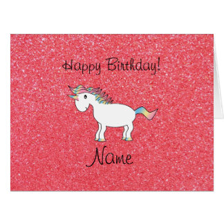 Birthday name unicorn light pink glitter cards