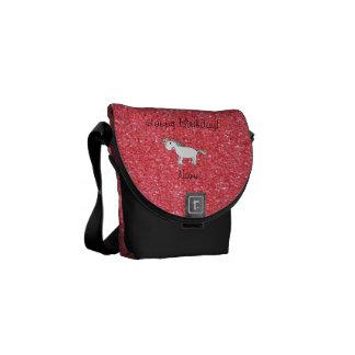 Birthday name unicorn light pink glitter courier bag