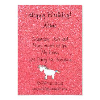 Birthday name unicorn light pink glitter personalized invitation