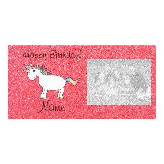 Birthday name unicorn light pink glitter photo cards