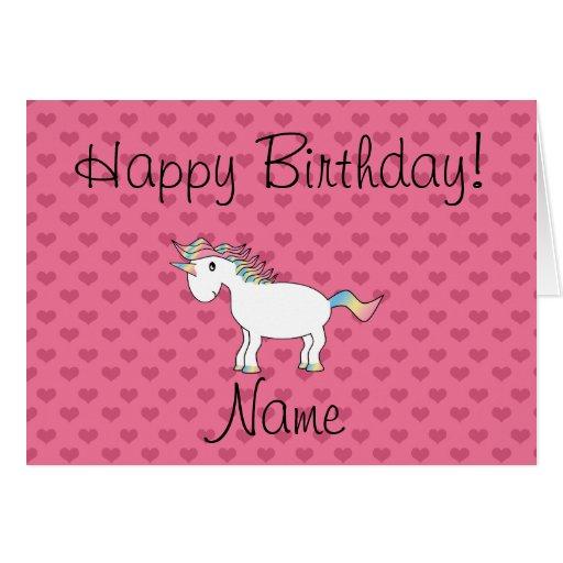 Birthday name unicorn pink hearts greeting card