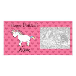 Birthday name unicorn pink hearts custom photo card