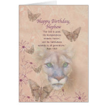 Birthday, Nephew, Cougar and Butterflies Card