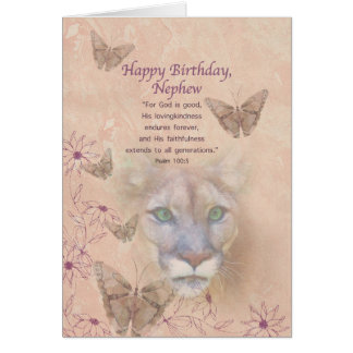 Birthday, Nephew, Cougar and Butterflies Greeting Card