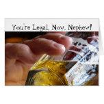 Birthday, nephew, legal, 21. Beer in  glass. Card