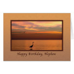 Birthday, Nephew, Ocean View at Sunset Greeting Card