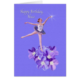 Birthday, Niece, Ballerina and Violets Card