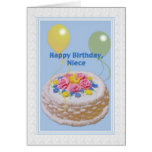Birthday, Niece, Cake and Balloons Greeting Card