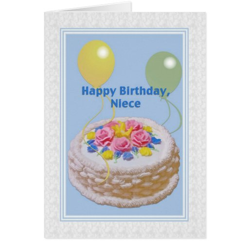 Cake Images For Birthday Card : Birthday, Niece, Cake and Balloons Greeting Card Zazzle
