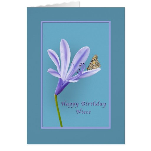 birthday niece daylily flower and butterfly greeting