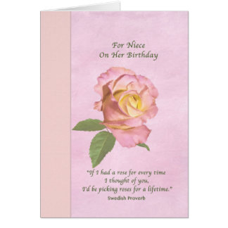 Birthday, Niece, Peace Rose Greeting Card
