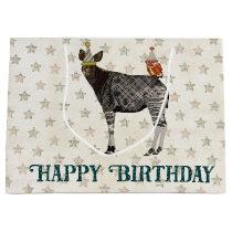 BIRTHDAY OKAPI & OWL LARGE GIFT BAG