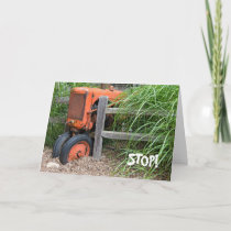 Birthday old orange tractor on fence card